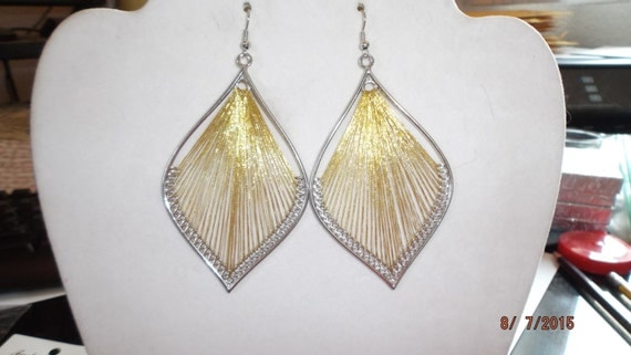 Beautiful Gold and Silver Metallic Leaf Orament Thread Earrings Boho, Native, Hippie, Southwestern, Peruvian, Xmas Ready to Ship