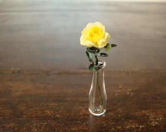 dollhouse Miniature vase with yellow  roses