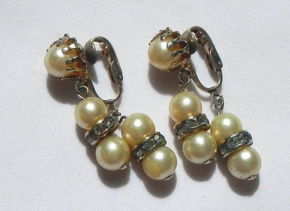 Vintage 1950's Coro Faux Pearl and Paste Diamond Earrings