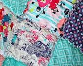 Pick Size Rag Quilt - Skopelos - Land - King Queen Full Twin xl Throw - Coral - Aqua - Gray - Modern Handmade Bedding