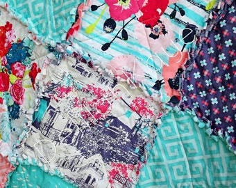King Size Rag Quilt - Skopelos - Land - Coral - Aqua - Gray - Modern Handmade Bedding