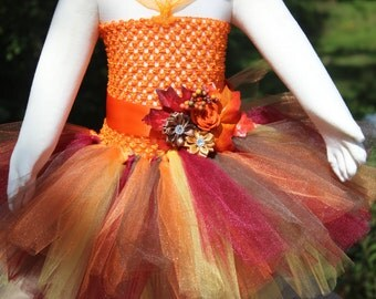 SUPER Fluffy Full Thanksgiving Fall Harvest Autumn Colors Tutu Dress Only for Nb Baby to 2T/3T