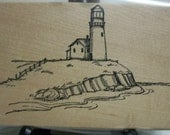 Lighthouse Mounted Rubber Stamp