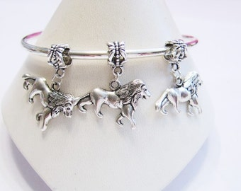 3 Lion Dangle Charm Beads for Euro Bracelets & Necklaces and Cuffs - European Charm or Pendant