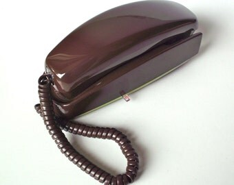 Vintage ITT Trimline Rotary Wall Phone, Brown