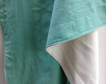Organic Baby Blanket - Hand Dyed Organic Cotton and Fleece - Sea Glass Green