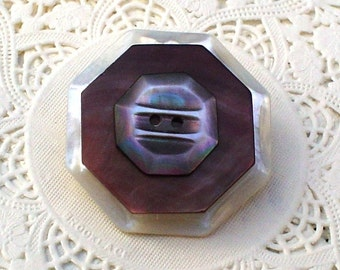 Convertible Vintage Button Pin/Pendant:  Octagonal Mother of Pearl Jewelry