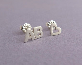 Initials & Heart Earrings - Letters Studs - Personalized Jewelry - Love Earrings - Valentine's Day Gift - Silver Mismatched Earrings