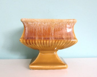 Harvest Gold McCoy Planter Vase, Gold Drip McCoy Vase Planter, Yellow Ochre Catch All, Mid Century Candy Dish, McCoy Pottery Footed Bowl