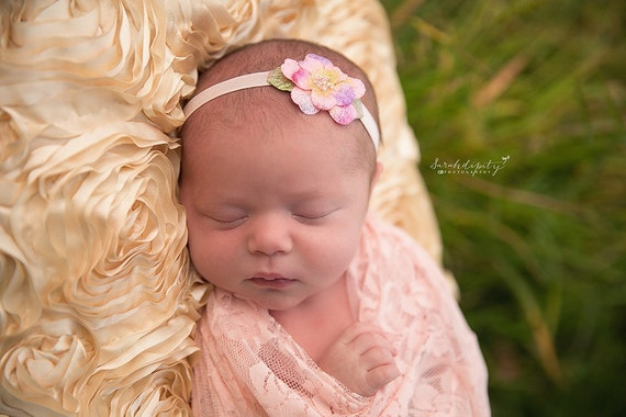 Pink stretch lace swaddle wrap and/or matching velvet flower headband for newborn photo shoots, stretch lace by Lil Miss Sweet Pea