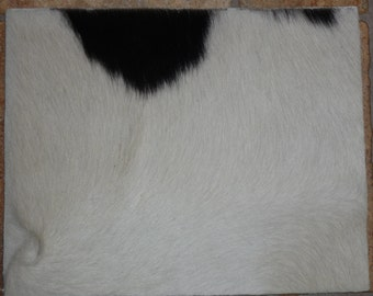 """Hair On Leather 8""""x10"""" Black and White Long Hair Cowhide PeggySueAlso #08"""