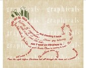 Christmas sleigh of words red green Digital download graphic image transfer for iron on fabric burlap decoupage tote bags pillows No. 371