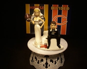 HOUSE DIVIDED Packers vs. Bears Football Team RIVALRY Bride and Groom Wedding Cake Topper