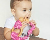 Wood teething tambourine.  Unfinished wood with wooden beads and organic cotton you choose fabric for girl, boy or neutral