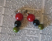 Creamed Spinach, Black and Red Bakelite Dangle Earrings with Sterling Ball Posts