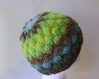 Knit Wool Beanie, Striped Green Brown Blue OOAK Womens Winter Hat