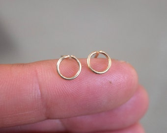 Tiny Circle Studs, Gold Filled or Sterling Silver Geometric Earrings, Simple Studs
