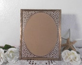 Vintage Ornate Gold Metal Frame 8 x 10 Oval Rustic Shabby Chic Wedding Decoration Victorian Paris French Mid Century Home Decor Gift Him Her