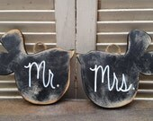 Distressed Black and White Mr. and Mrs. Wedding Love Birds, Wooden Black Wedding Sign Decor, Wood Love Birds