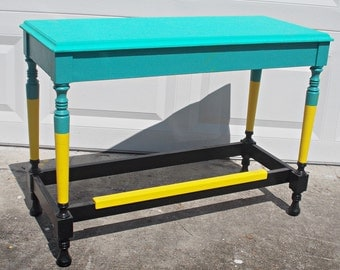 Vintage Painted Table Bench Turquoise Wooden Colorful