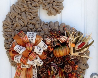 Autumn Fall, Thanksgiving Cornucopia, Horn of Plenty Burlap Wreath