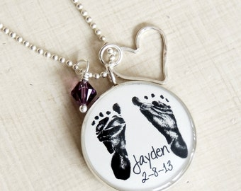 Baby Footprint Necklace - Double Sided - Footprint Jewelry - Mommy Necklace - Mother's Day - There's This Boy Who Stole My Heart - Baby