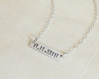 Custom Bar Necklace - Personalized Mom Necklace - Roman Numeral Necklace - Custom Date Necklace - Wedding Date Necklace - Bar Date Necklace