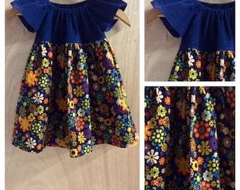 Flower Power Corduroy Peasant Dress, size 3t