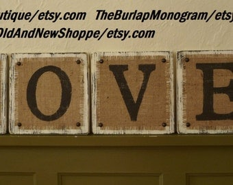 L-O-V-E Burlap Rustic Hanging Sign, LOVE Rustic Country BURLAP Sign ready to hang, Primitive Burlap Hanging Love Sign, Distressed Burlap