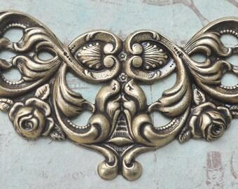Brass Necklace Brass with Scrolls, Brass Ox