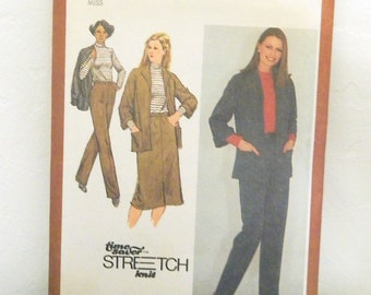 Vintage 1980 Jacket, Skirt, Pants and Top Pattern - Simplicity 9622 - Uncut - Time-Saver Stretch-Knit Pattern