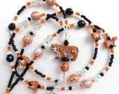 TIGER TRIBUTE- Beaded ID Lanyard Badge Holder- Ceramic Tiger Beads, Agate Gemstones, Pearls, Crystals (Magnetic Clasp or Comfort Created)