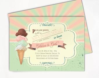 Ice Cream Invitation, Baby Shower Party Invitation, Ice Cream Sundae Social Babyshower Printable Invite // PRINTED or PRINTABLE INVITATIONS