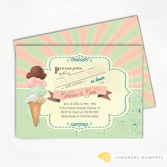 Ice Cream Invitation - Baby Shower Party Soda Shop Printable Invite
