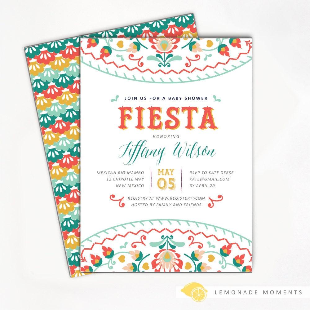 fiesta baby shower invitation mexican fiesta by lemonademoments