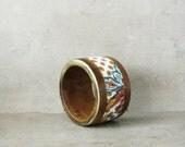 Boho bracelet, wooden bohemian gypsy bracelet, ornamented bracelet, FREE SHIPPING