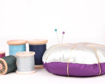 vintage satin pin cushion // blue and purple
