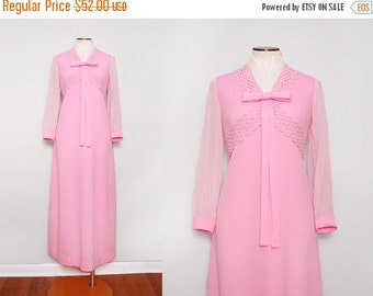 SALE 1960s Pink Maxi Dress / Vintage 60s Bubble Gum Dress / Medium