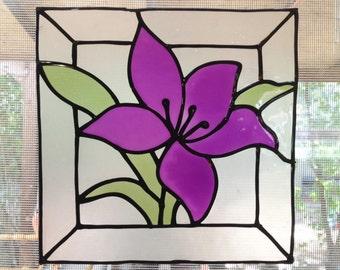 Purple flower - Stained glass window cling - Suncatcher - Window Mirror Tile decoration - handmade decal - home decoration -
