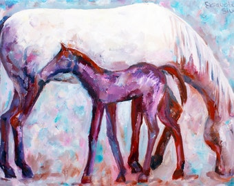 Original painting MOTHER and BABY HORSE // oil on canvas by Elisaveta Sivas // 19,7 x 27,6' (50 x 70 cm)