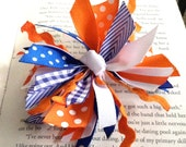 Orange and Blue Spike Hair Bow