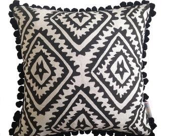 Black Jagged Diamond linen cushion cover with black pompom trim