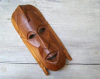 Handcarved Wooden Man Mask, Vintage Ethnic Art Totem Face, Tribal Rustic Decor, Man Cave Gift, Primitive Wall Art Sculpture, Collectible