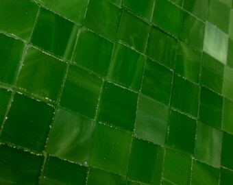 """50 LUCKY CLOVER GREEN Tile  1/2"""" Stained Glass Mosaic Supply A8"""