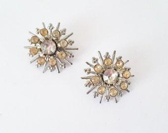 Midcentury Jewelry Pins Set Crystal Faceted Stones Sunburst Snow Flake Pin Set Wedding Bridal Holiday Vintage Pin Set Jewelry Gift under 15