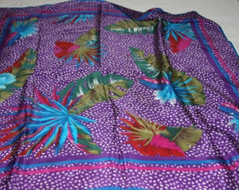 VERA Silk Scarf - Signed - Purples Aqua - 28x28 - Vintage Floral