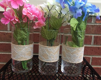 Wedding Flower Centerpiece, Wedding Decor, Rustic Wedding Decor, Shabby Chic Wedding Decor, Burlap Lace, Wedding Flower Centerpiece, Vase