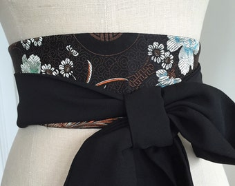 Brown black silk obi sash belt, asian brocade silk obi belt, reversible obi, waist cincher obi, black tie attire, engagement party sash