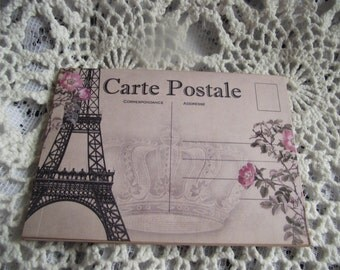 4 French   Distress Crown And Roses Lightly Rose Background Post Cards With Various Crowns And Eiffel Tower
