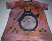 Totoro juggling soot sprites, oops..gotta keep practicing, woman's large discharged and dyed shirt, printed soot sprites, small for size